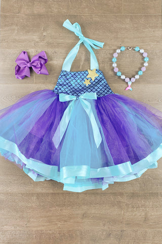 Blue Mermaid Princess Tutu Dress