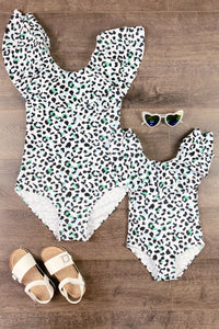 Mom & Me - Mint, Blue & Blk Leopard One Piece Swimsuits