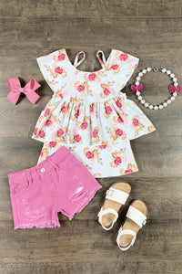Pink Ellori Floral Denim Short Set