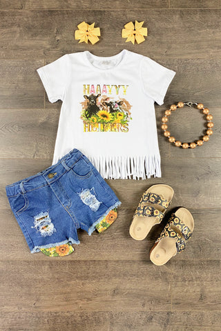 HAAAYYYY Heifers Cow Denim Short Set