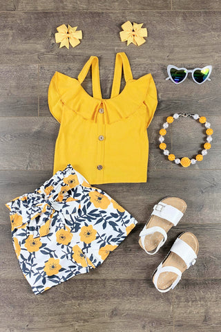 Yellow & Navy Brooklynn Floral Short Set