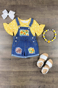 Sunflower & Hearts Denim Overall Short Set