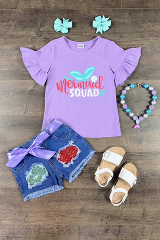 Mermaid Squad Denim Patch Short Set