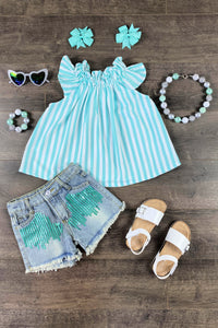 "Sparkly ""Sky"" Mint Stripe Denim Patch Short Set"