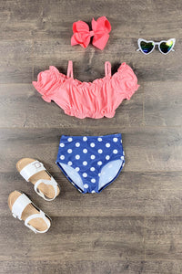 Pink & Navy Blue Polka Dot Two Piece Bikini Swimsuit