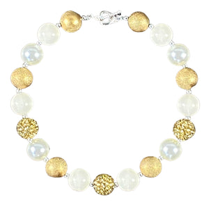Pearls & Golds Sparkly Bubblegum Necklace