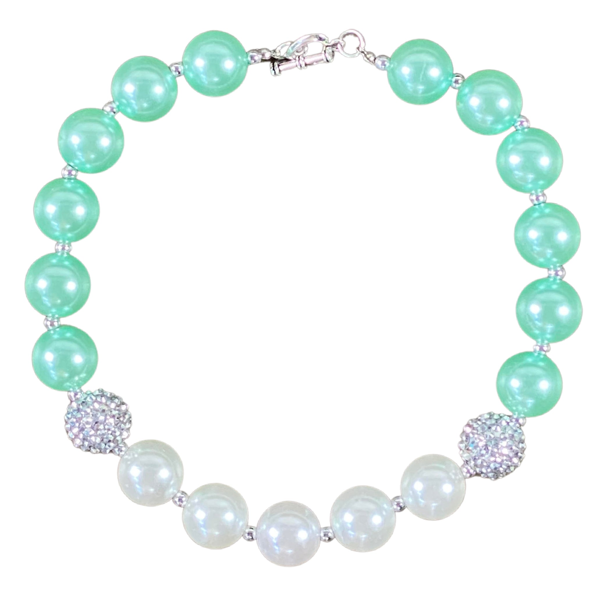 Sparkly Silver, Mint & White Bubblegum Necklace