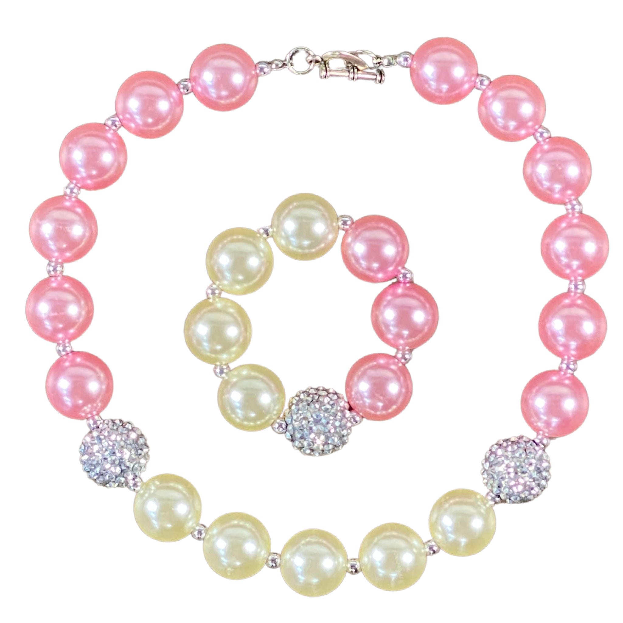 Pink, Silver & Ivory Bubblegum Necklace & Bracelet Set