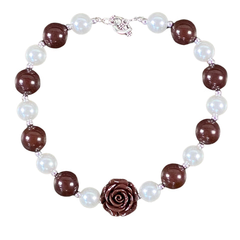 Brown Rose Bubblegum Necklace