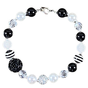Black & White Rose Bubblegum Necklace