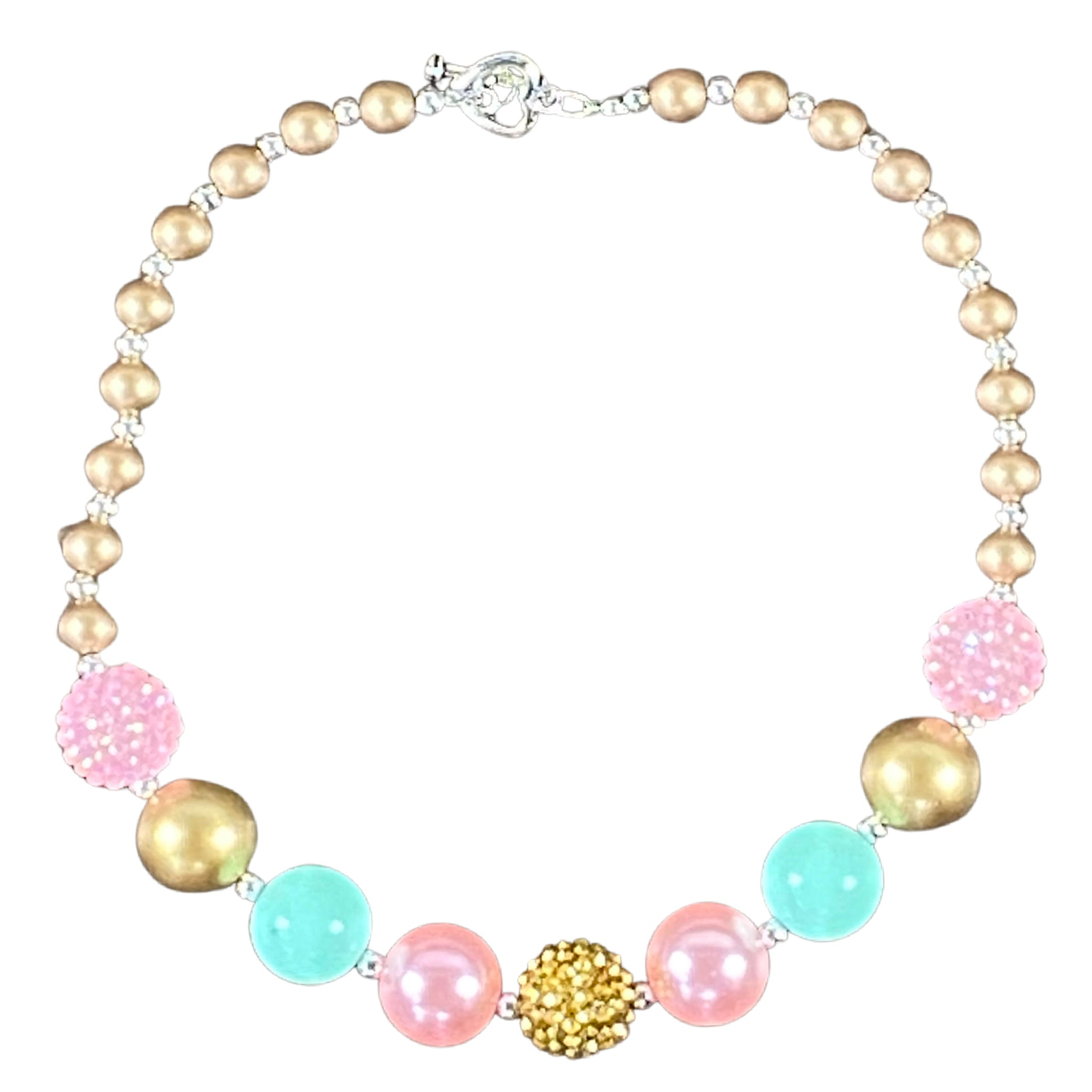 Sparkle Pink, Mint & Small Pearl Gold Bubblegum Necklace