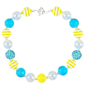 Yellow Stripe, Blue & White Bubblegum Necklace