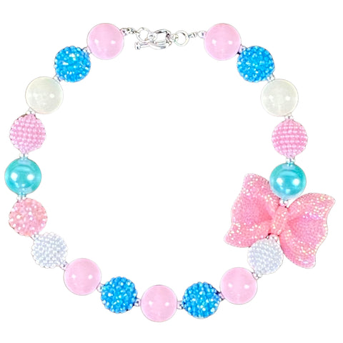 Sparkly Pink Bow, Mint & Blue Bubblegum Necklace