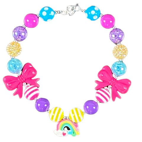 Rainbow Charm & Hot Pink Bow Bubblegum Necklace