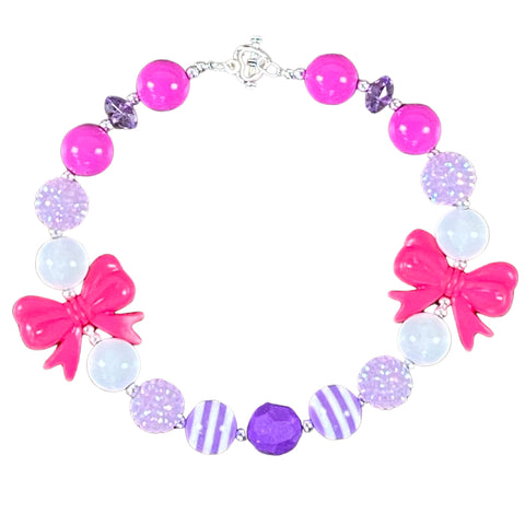 Hot Pink Bow & Shades of Purples Bubblegum Necklace