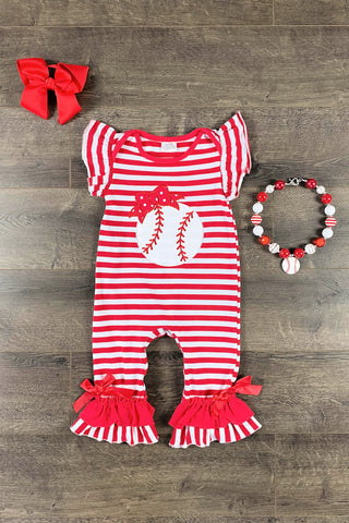 Red & White Baseball Baby Onesie Romper