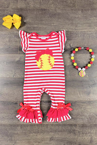 Yellow & Red Softball Baby Onesie Romper