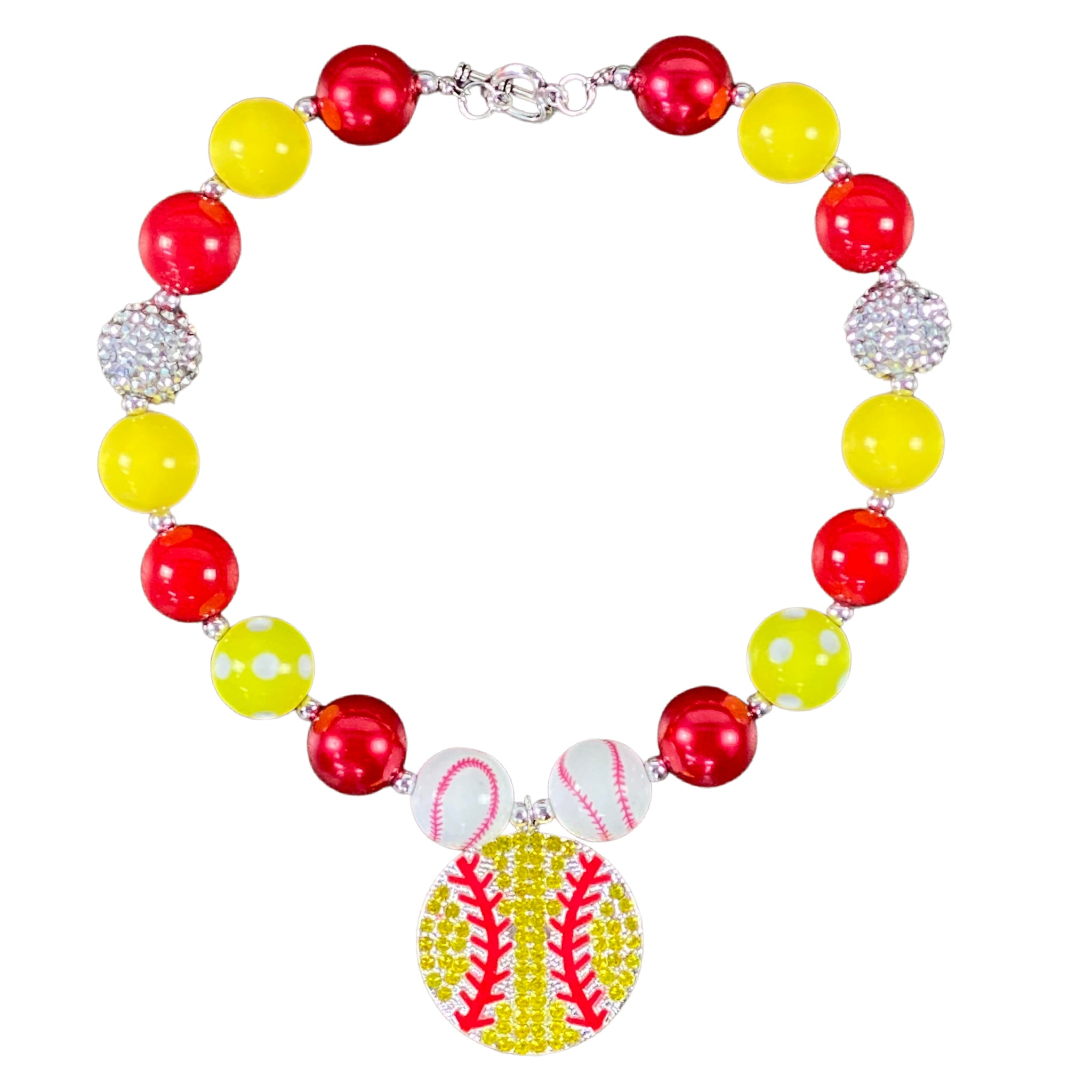 Yellow & Red Sparkly Softball Bubblegum Necklace
