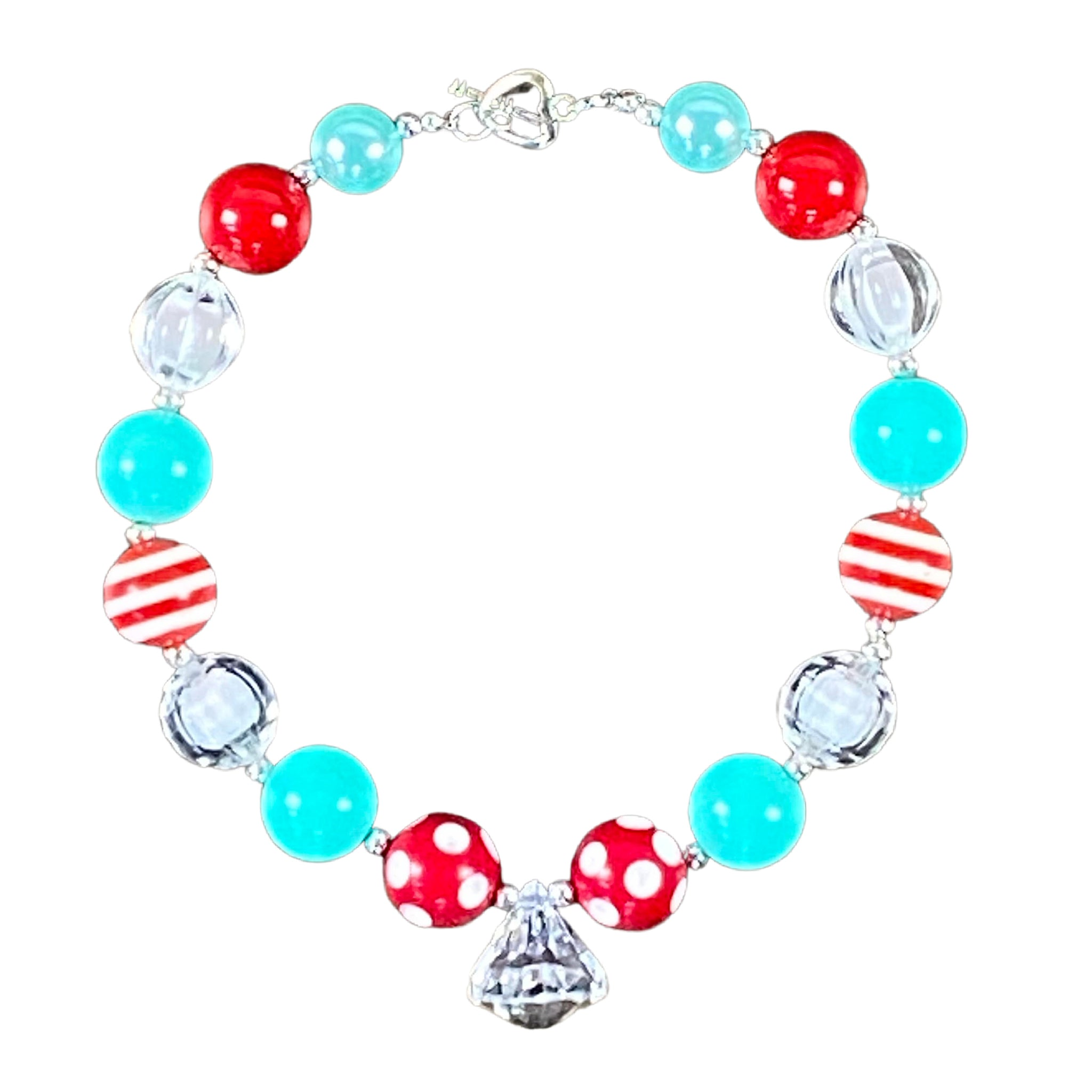 Red & Mint Bubblegum Necklace