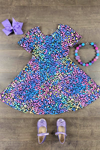 Rainbow Leopard Twirl Dress