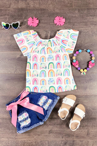 Rainbow Denim Patch Short Set