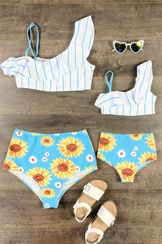 Mom & Me - Blue Sunflower Two Piece High Waisted Bikini Swimsuit