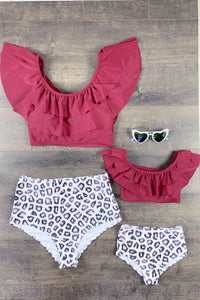 Mom & Me - Burgundy & Cheetah Print Two Piece Bikini Swimsuit