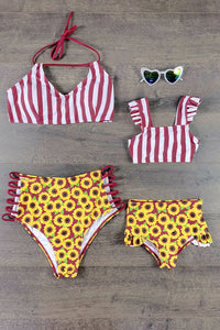 Mom & Me - Sunflower & Stripe Burgundy Two Piece Bikini Swimsuit
