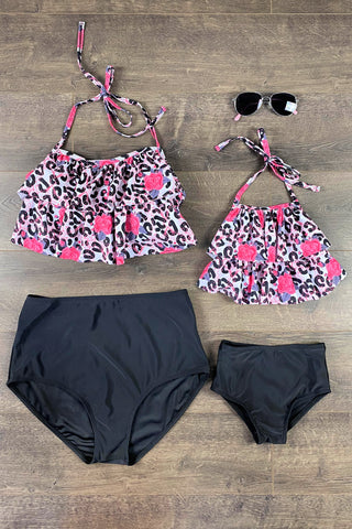 Mom & Me - Cheetah Rose Two Piece Bikini Swimsuit