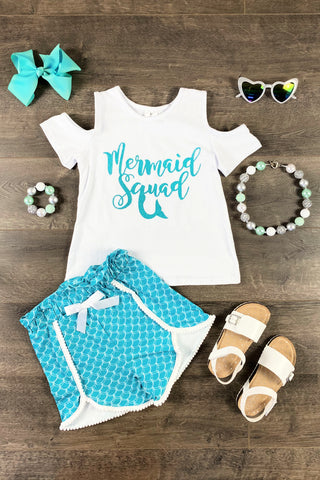 Blue Mermaid Squad Short Set