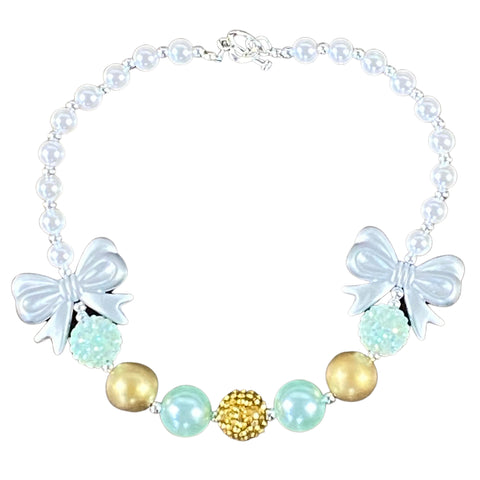 Mint, Gold & Silver Bows Bubblegum Necklace