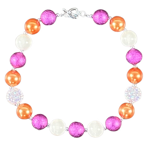Plum, Orange & Sparkly White Bubblegum Necklace
