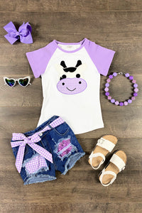 Sparkly & Plaid Purple Cow Denim Patch Short Set