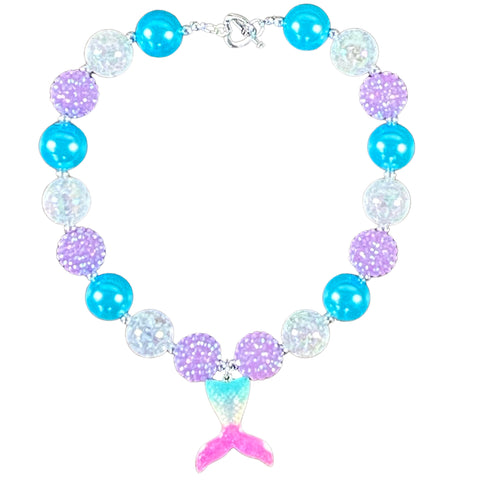 Blue & Purple Ombre Mermaid Tail Bubblegum Necklace