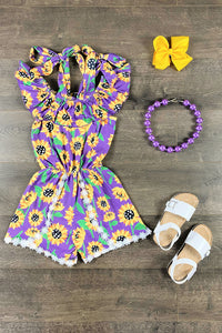 Purple Sunflower Romper