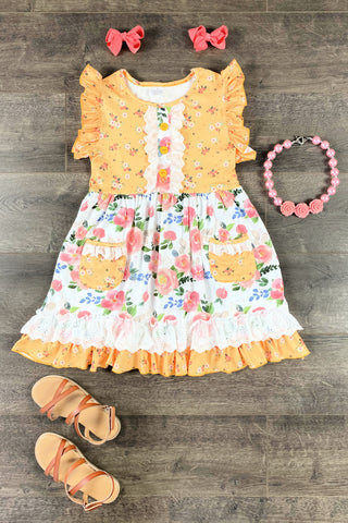 Floral Mustard Pocket Dress
