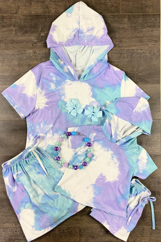Mom & Me - Purple, Blue & Mint Tie Dye Shirt Hoodie & Short Set