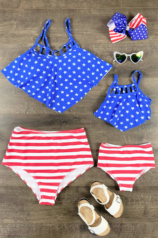 Mom & Me - Stars & Stripes Two Piece Bikini Swimsuit