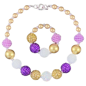 Sparkly Purple, Gold & White Bubblegum Necklace & Bracelet Set