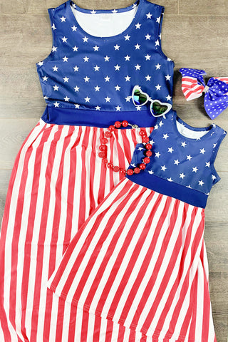 Mom & Me - Stars & Stripes Long Maxi Dress