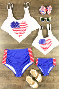 Mom & Me - Heart Flag Two Piece Bikini Swimsuit