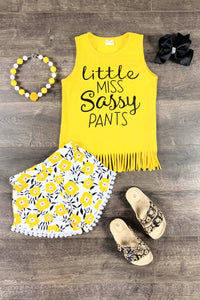 Yellow Little Miss Sassy Pants Pom Pom Set