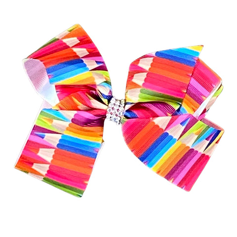 Colored Pencil Ribbon Hair Bow