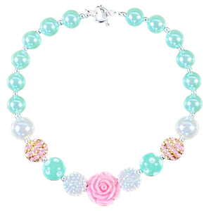 Pink Rose, Gold & Minty Mint Bubblegum Necklace