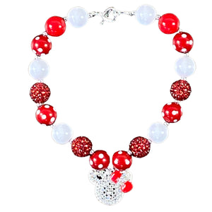 Minnie Red & White Sparkly Bubblegum Necklace