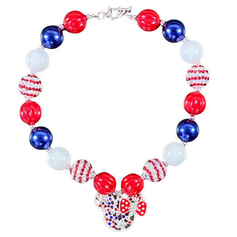 Red, White & Blue Minnie Bubblegum Necklace