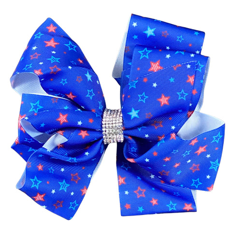 DELUXE Blue Stars Ribbon Hair Bow