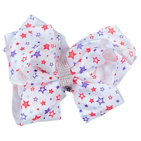 DELUXE White Stars Ribbon Hair Bow