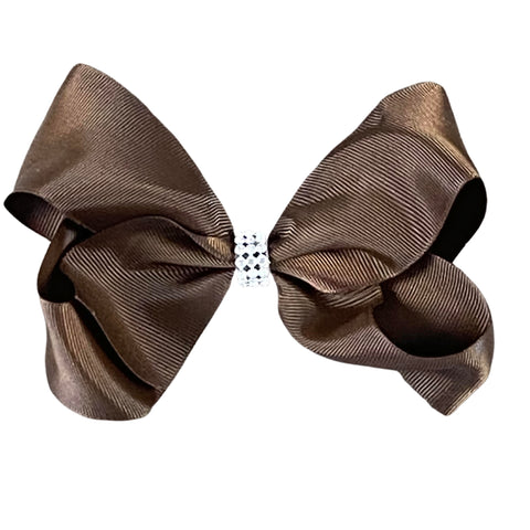 Brown & Sparkly Center Ribbon Hair Bow