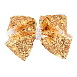 Super Sparkly Gold Rhinestone Ribbon Hair Bow